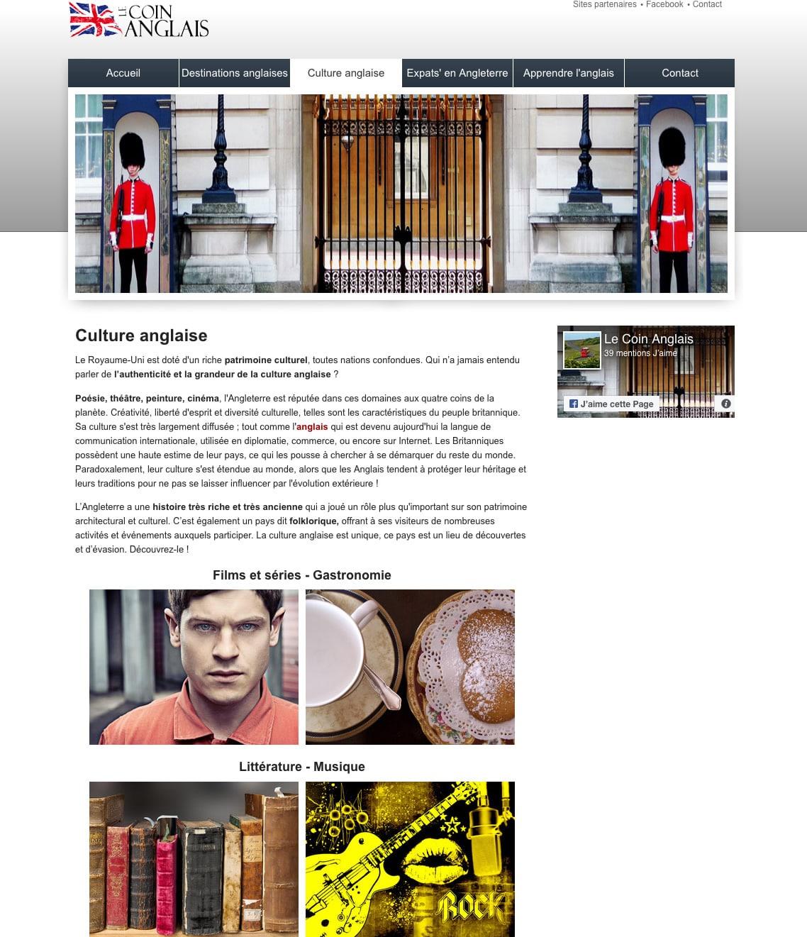 Site Le Coin Anglais - Culture anglaise et tourisme en Angletrre