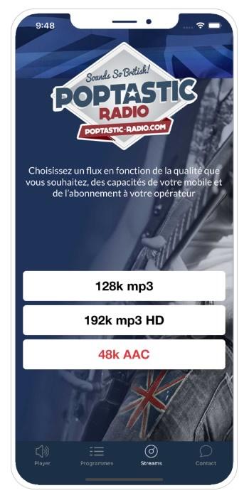 Application Poptastic Radio choix flux