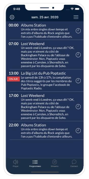Application Poptastic Radio programmes